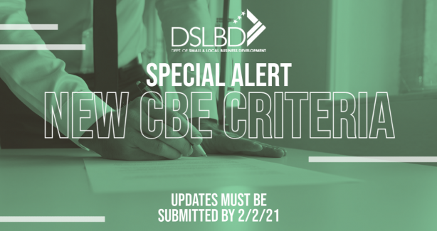 Special Alert - New CBE Criteria