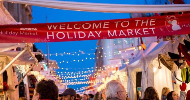 Downtown DC holiday market banner