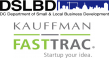 DSLBD logo compbined with the Kauffman FastTrac text logo in gray and green