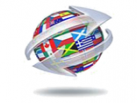 Globe with multiple country flags with two arrows going in opposite directions wrapped around it