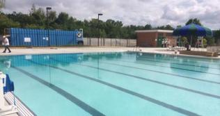 Public pool on a sunny day