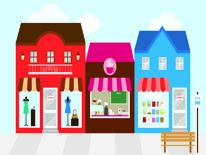 Various colored retail store fronts