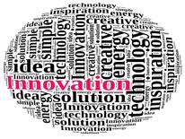 Word cloud with innovation in red, and technology, energy, idea and related concepts in black