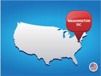 Map of the United States with a placemark icon with the text Washington DC